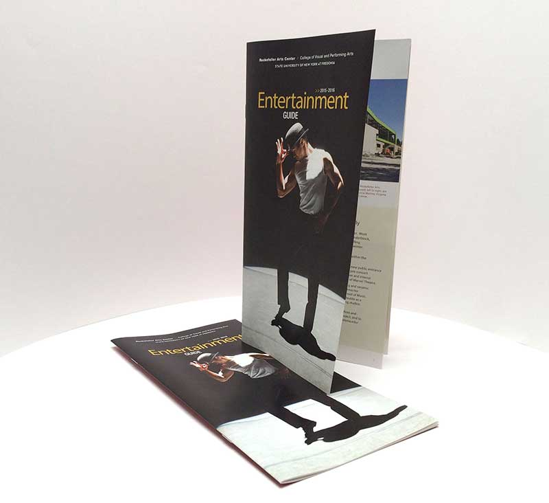 Four-color saddle-stitched brochure for the Rockefeller Arts Center